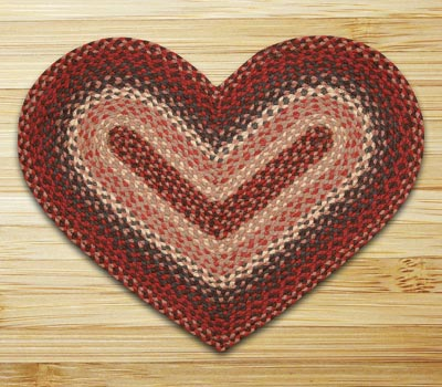 Burgundy Braided Jute Rug - Heart