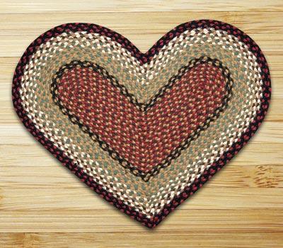 Burgundy and Mustard Braided Jute Rug - Heart