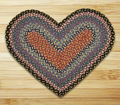 Burgundy, Blue, and Gray Braided Jute Rug - Heart
