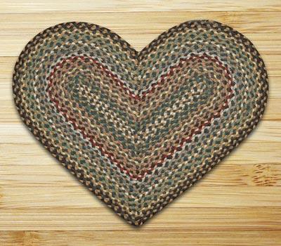 Fir and Ivory Braided Jute Rug - Heart