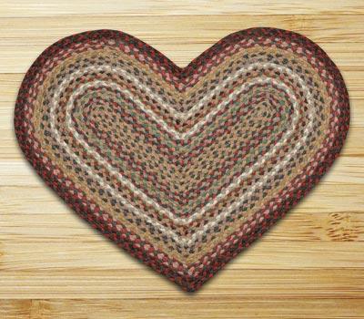 Burgundy and Ivory Braided Jute Rug - Heart