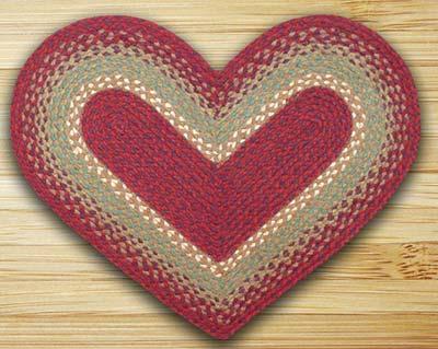 Burgundy, Maroon, and Sunflower Braided Jute Rug - Heart