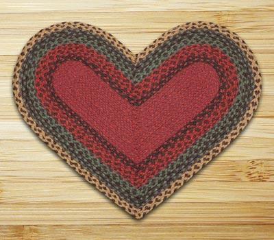 Burgundy, Green, and Sunflower Braided Jute Rug - Heart