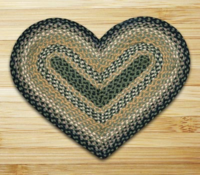 Black, Mustard, and Creme Braided Jute Rug - Heart
