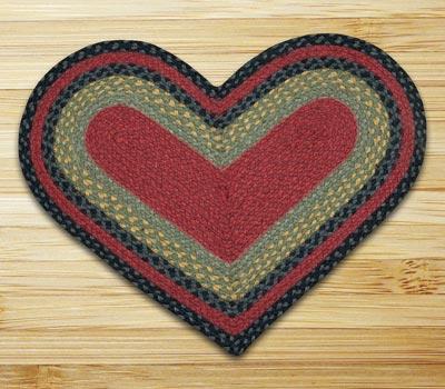 Burgundy, Olive, and Charcoal Braided Jute Rug - Heart