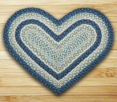 Breezy Blue, Taupe, and Ivory Braided Jute Rug - Heart