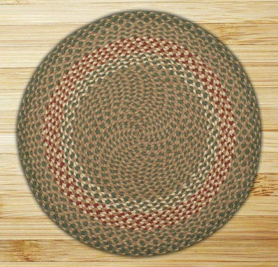 Round Green And Burgundy Braided Jute Rug By Capitol