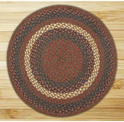 Burgundy and Gray Braided Jute Rug, Round (Special Order Sizes)