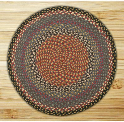 Burgundy, Blue, and Gray Braided Jute Rug, Round (Special Order Sizes)