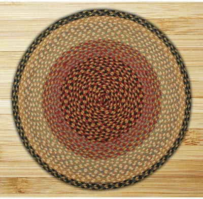 Burgundy, Gray, and Creme Braided Jute Rug, Round (Special Order Sizes)