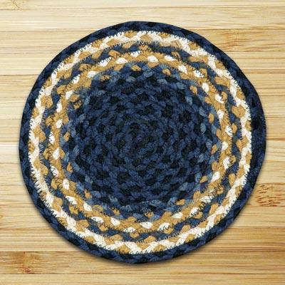 Light Blue, Dark Blue, and Mustard Braided Jute Rug, Round (Special Order Sizes)