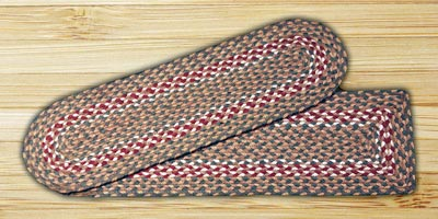Green and Burgundy Braided Jute Stair Tread - Rectangle