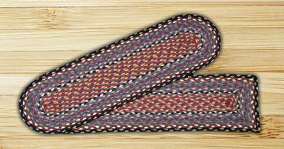 Burgundy, Blue, and Gray Braided Jute Stair Tread - Oval
