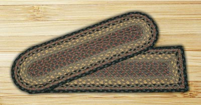 Brown, Black, and Charcoal Braided Jute Stair Tread - Rectangle
