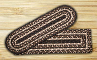 Mocha and Frappuccino Braided Jute Stair Tread - Oval