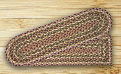 Olive, Burgundy, and Gray Braided Jute Stair Tread - Oval