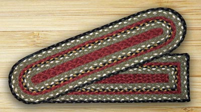 Burgundy, Olive, and Charcoal Braided Jute Stair Tread - Rectangle