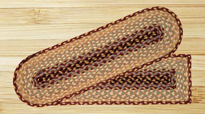 Burgundy, Gray, and Creme Braided Jute Stair Tread - Oval