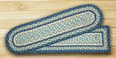 Breezy Blue, Taupe, and Ivory Braided Jute Stair Tread - Oval
