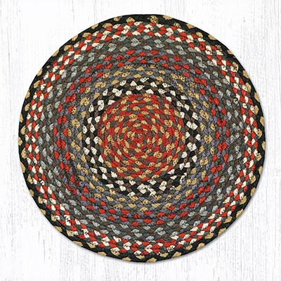 Burgundy and Blue and Gray Braided Jute Chair Pad
