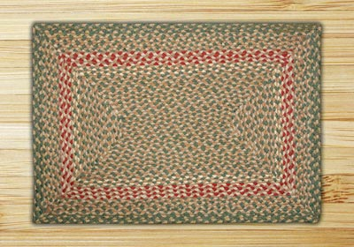 Green and Burgundy Braided Jute Rug, Rectangle - 27 x 45 inch