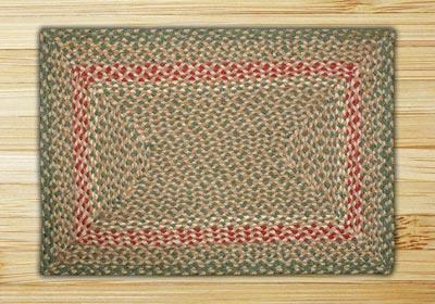 Green and Burgundy Braided Jute Rug, Rectangle - 20 x 30 inch