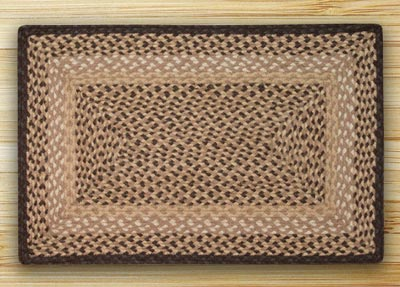 Chocolate and Natural Braided Jute Rug, Rectangle (Special Order Sizes)