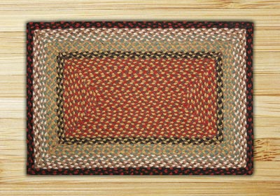 Burgundy and Mustard Braided Jute Rug, Rectangle (Special Order Sizes)