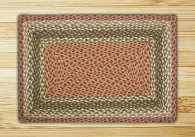 Olive, Burgundy, and Gray Braided Jute Rug, Rectangle - 27 x 45 inch