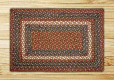 Burgundy, Blue, and Gray Braided Jute Rug, Rectangle - 27 x 45 inch