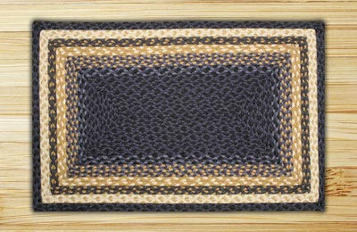 Light Blue, Dark Blue, and Mustard Braided Jute Rug, Rectangle (Special Order Sizes)