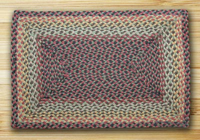 Burgundy, Black, and Sage Braided Jute Rug, Rectangle - 20 x 30 inch