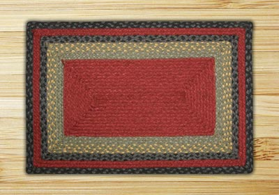 Burgundy, Olive, and Charcoal Braided Jute Rug, Rectangle - 20 x 30 inch