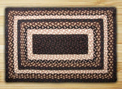 Mocha and Frappuccino Braided Jute Rug, Rectangle (Special Order Sizes)