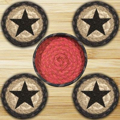 Black Star Braided Coaster Set