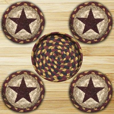 Burgundy Star Braided Coaster Set