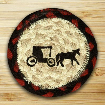 Amish Buggy Jute Coaster
