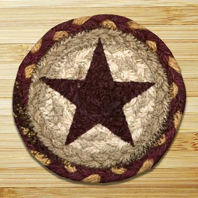 Burgundy Star Jute Coaster