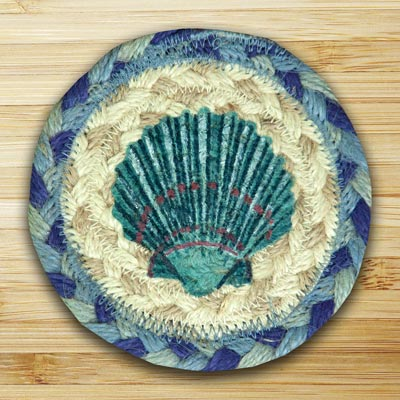 Blue Scallop Jute Coaster