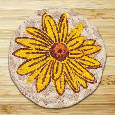 Yellow Mum Jute Coaster