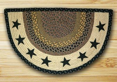 Black Stars Half Moon Braided Jute Rug -  Small