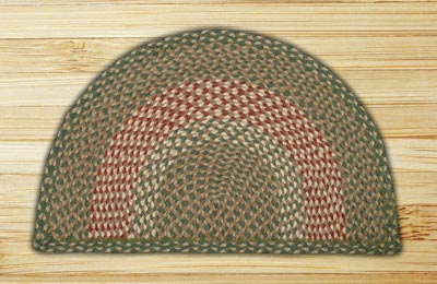 Green and Burgundy Half Moon Braided Jute Rug - Small
