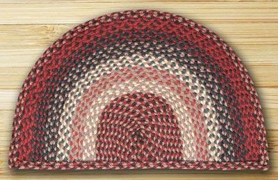 Burgundy Half Moon Braided Jute Rug - Large