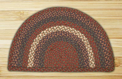 Burgundy and Gray Half Moon Braided Jute Rug - Large