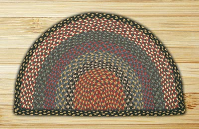 Burgundy, Blue, and Gray Half Moon Braided Jute Rug - Large