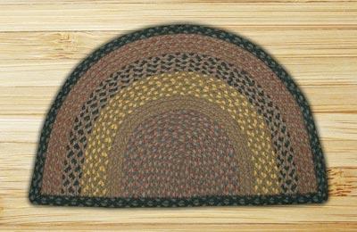 Brown, Black, and Charcoal Half Moon Braided Jute Rug - Large