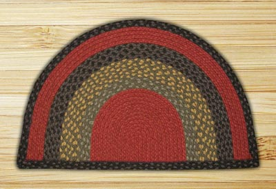 Burgundy, Olive, and Charcoal Half Moon Braided Jute Rug - Large