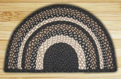 Mocha and Frappuccino Half Moon Braided Jute Rug - Small