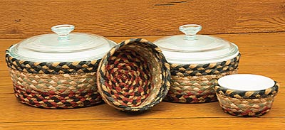 Burgundy, Gray and Creme Braided Jute Baskets (Set of 4)
