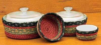 Burgundy, Olive, and Charcoal Braided Jute Baskets (Set of 4)
